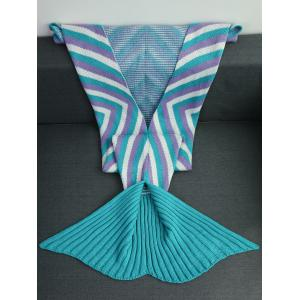 High Quality Geometry Pattern Crochet Knitted Mermaid Tail Blanket -