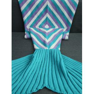 High Quality Geometry Pattern Crochet Knitted Mermaid Tail Blanket - COLORMIX
