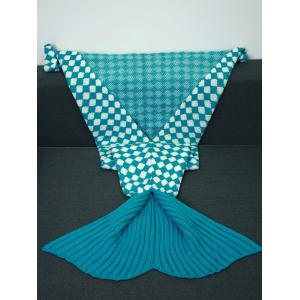 Warmth Inclined Plaid Pattern Knitted Mermaid Tail Blanket -