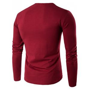 Slim-Fit Round Neck Long Sleeve T-Shirt - WINE RED 3XL