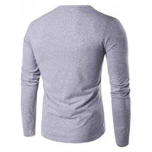 Slim-Fit Round Neck Long Sleeve T-Shirt - GRAY L