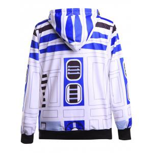 Geometrical Funny Pullover Hoodie - BLUE/WHITE M