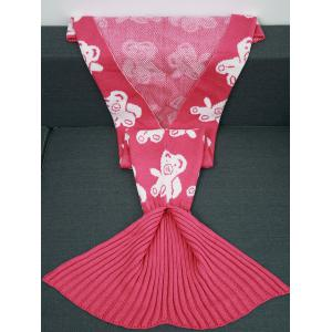 Acrylic Knitted Bear Pattern Mermaid Tail Blanket and Throws - ROSE RED