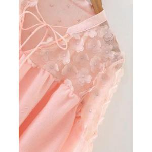 Flower Appliqued See-Through Blouse -