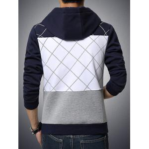 Patch Design Grid Pattern Zip Up Hoodie -