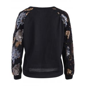 Sequins Embellished Flower Pullover Sweatshirt -