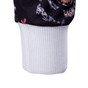 Floral Sleeve Animal Embroidery Sweatshirt - WHITE L