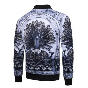 Peacock Printed Raglan Sleeve Zip Up Jacket - GRAY L