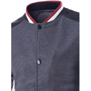 Stand Collar PU Leather Splicing Jacket - GRAY 2XL