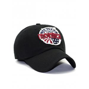 Letter Star Embroidery Patch Baseball Hat - BLACK