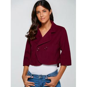 3/4 Sleeve Buttoned Wool Cropped Jacket -