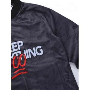 Zip Up Raglan Sleeve Graphic Jacket -