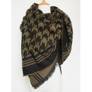 Winter Jacquard Houndstooth Fringed Shawl Blanket Scarf -