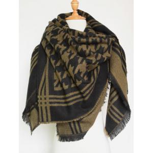 Winter Jacquard Houndstooth Fringed Shawl Blanket Scarf - BROWN