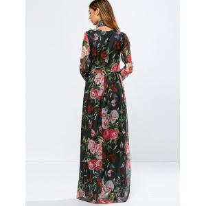 Vintage Chiffon Long Sleeve Floral Floor Length Maxi Prom Dress - BLACK L