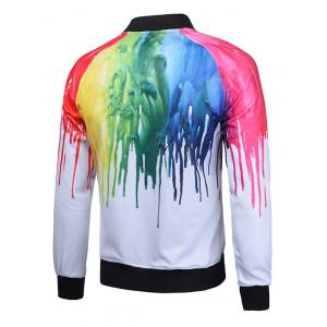 Paint Dripping Print Zip Up Raglan Sleeve Jacket - WHITE 3XL