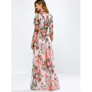 Vintage Chiffon Long Sleeve Floral Print Floor Length Maxi Prom Dress - PINK S