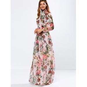 Vintage Chiffon Long Sleeve Floral Floor Length Maxi Prom Dress - PINK 2XL