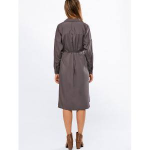 Long Sleeve Belted Boyfriend Shirt Dress - GRAY XL