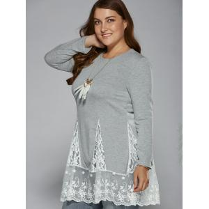 Lace Splicing Plus Size Top -