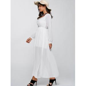 Long Sleeve V Neck Chiffon Casual Maxi Dress - WHITE L
