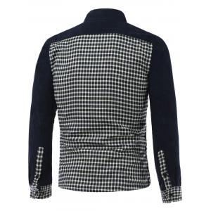 Long Sleeve Plush Lining Spliced Gingham Shirt - CADETBLUE XL