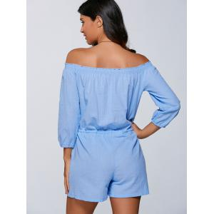 Drawstring Off The Shoulder Romper - LIGHT BLUE XL