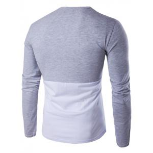 Long Sleeve Round Neck Color Block T-Shirt - GRAY L