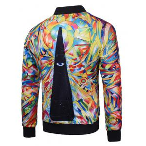 Abstract Print Zip Up Raglan Sleeve Jacket - COLORMIX 3XL