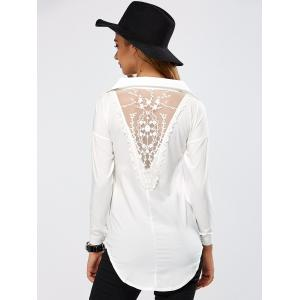 Lace Spliced Crochet High Low Blouse -