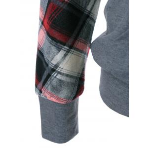 Plaid Trim Single Pocket Hoodie - GRAY XL