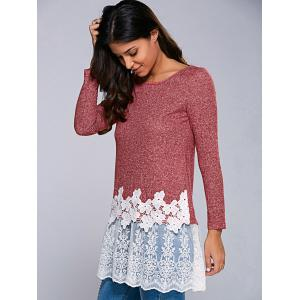 Heather Lace Hem Blouse - RED WITH WHITE M