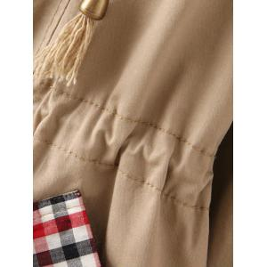 Drawstring Plaid Pocket Design Coat -