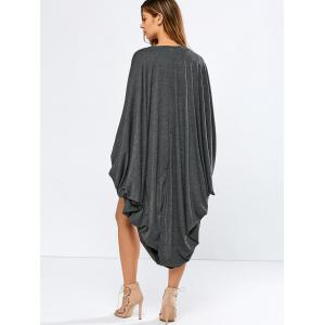Collarless Bat-Wing Sleeve Duster Coat -