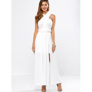 High Slit Convertible Maxi Prom Cocktail Dress -