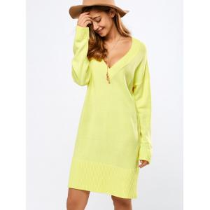 V Neck Long Sleeve Tunic Sweater Dress - YELLOW M