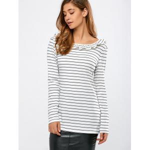 Ruffles Striped Backless T-Shirt -