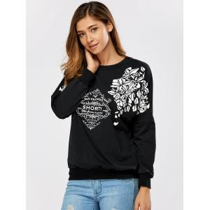 Drop Shoulder Leaves Printed Pollover Sweatshirt -