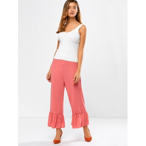 Frilled High Rise Wide Leg Pants -
