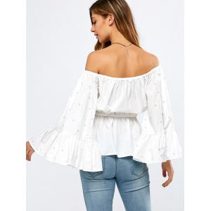 Off Shoulder Flare Sleeve Beaded Ruffle Peplum Top - WHITE L