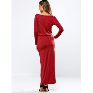 Long Sleeve Belted Maxi Dress with Pockets -