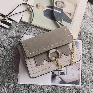 Chain Metal Ring Covered Closure Crossbody Bag - GREY AND WHITE