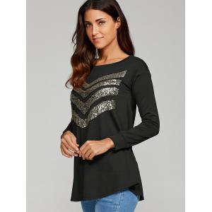 Sequined Zigzag Pattern Blouse -