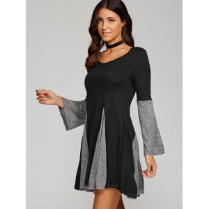 Spliced Fit and Flare Dress - BLACK/GREY XL