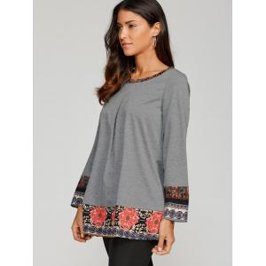 Floral Trim Loose Fitting Blouse -
