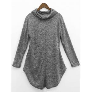 Cowl Neck Asymmetrical Dress - GRAY XL