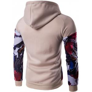 Floral Print Patchwork Design Pullover Hoodie - KHAKI 2XL