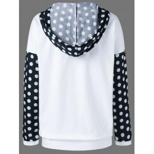 Polka Dot Trim Hoodie - WHITE AND BLACK XL