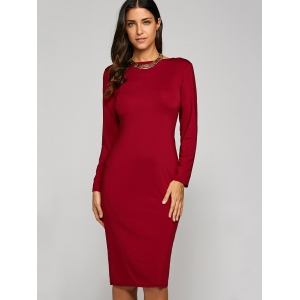 Long Sleeve Backless Pencil Cocktail Dress - RED S