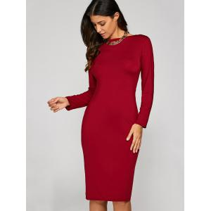 Long Sleeve Backless Slit Pencil Cocktail Dress - RED XL